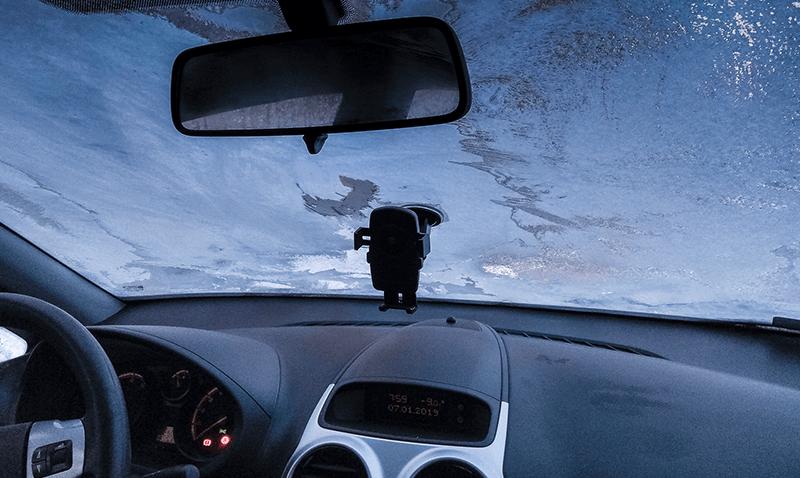 Wnętrze samochodu zimą