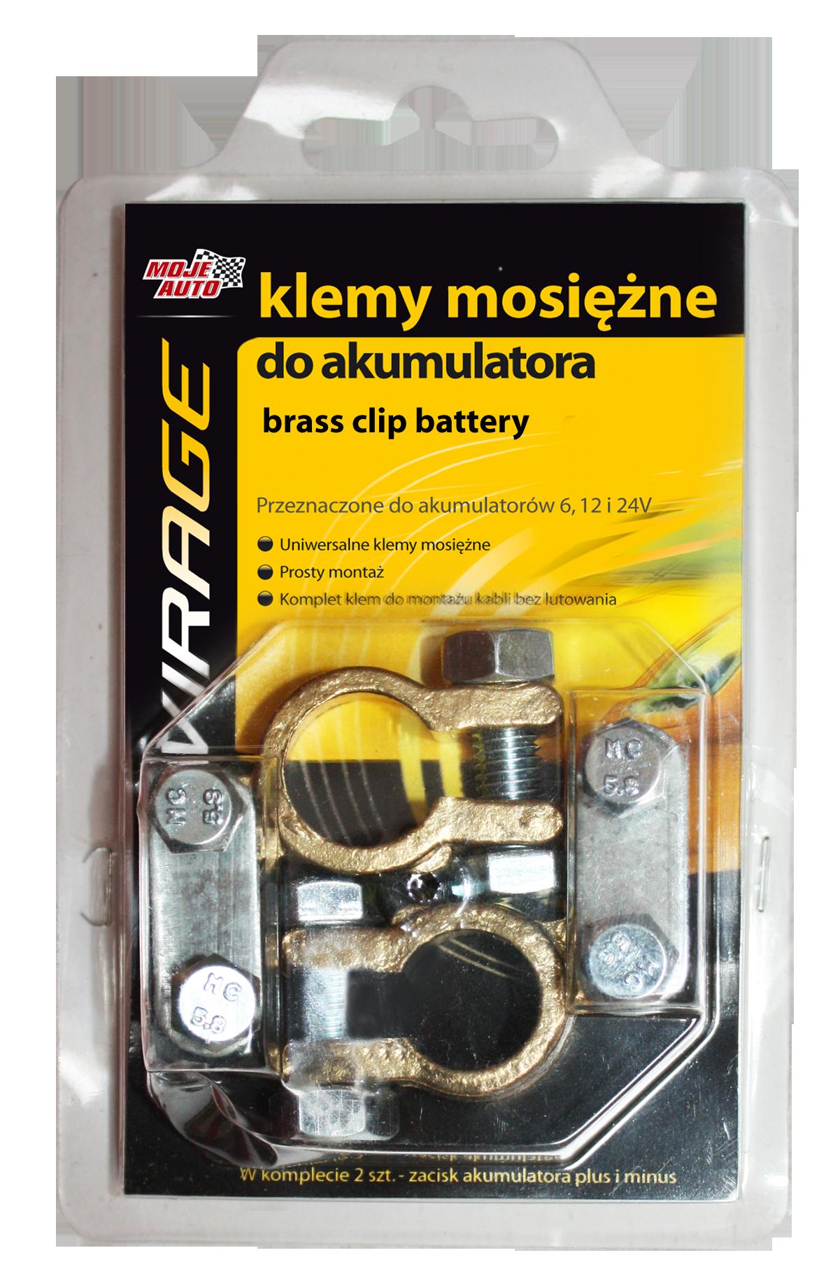 Klemy akumulatorowe Virage 2 szt. mosiężne - 93-003