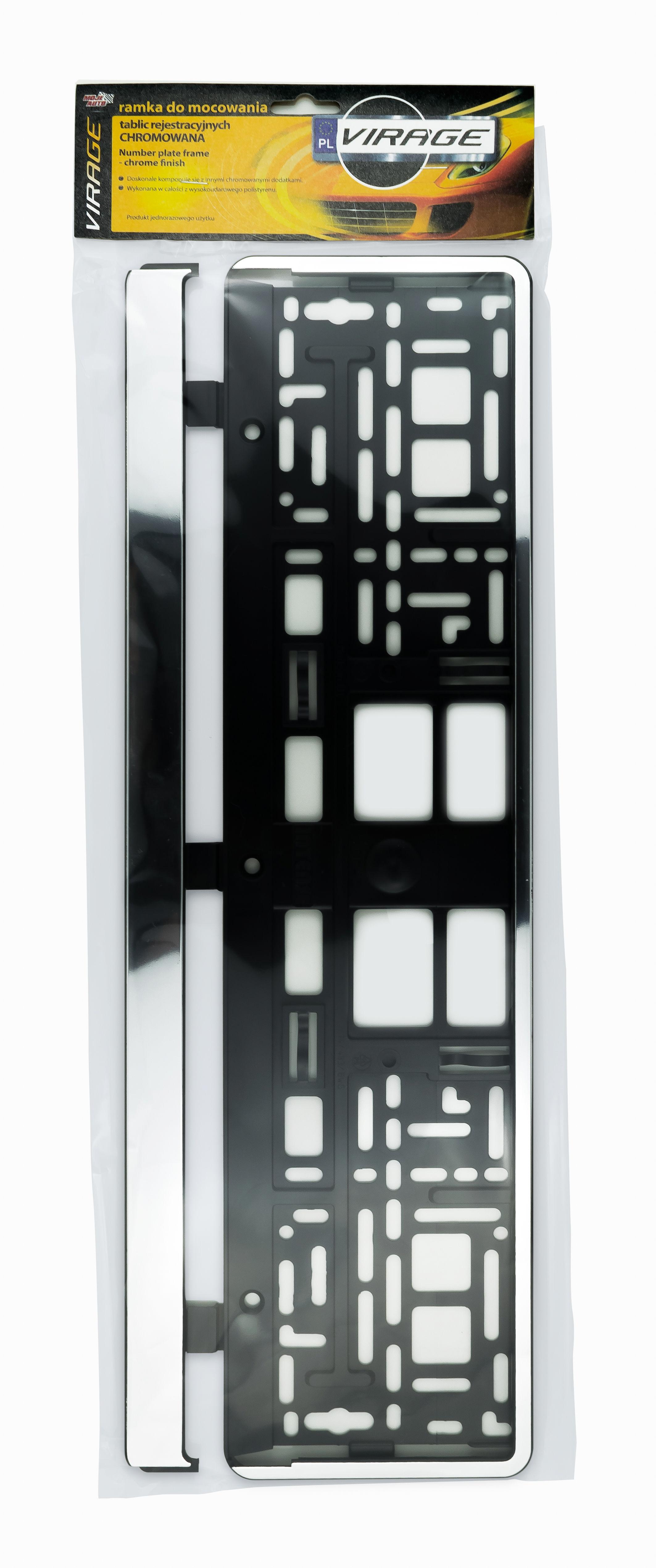 Moje Auto Virage Ramka do Mocowania Tablic Rejestracyjnych - chromowana 93-036